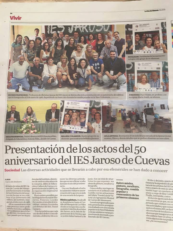50º Aniversario del IES Jaroso en La Voz de Almería